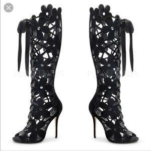 Shoes - Lace up floral cut out boots